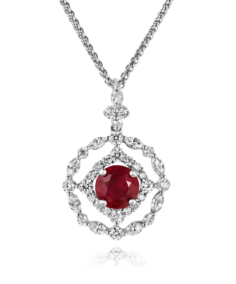 Sheldon Bloomfield Ruby and Diamond Necklace18k White Gold NecklaceRuby 1.48ct Diamond 0.93ct