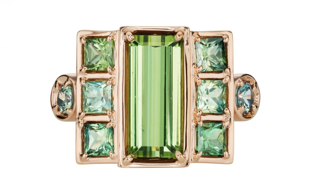 Large Cloud Swing ring in 18k rose gold with grassy green tourmaline, green sapphires, and blue-green tourmaline by Jane Taylor Jewelry, $5,690
