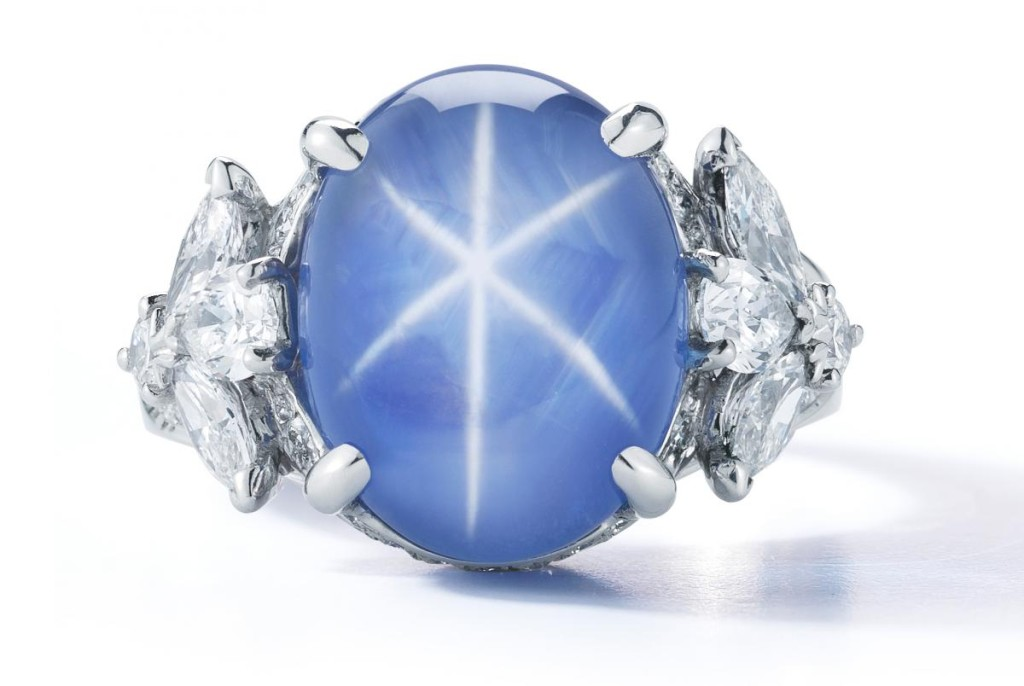 One-of-a-kind ring in platinum with an 11.05 ct. no-heat star sapphire and 1.48 cts. t.w. diamonds by Oscar Heyman, $80,000
