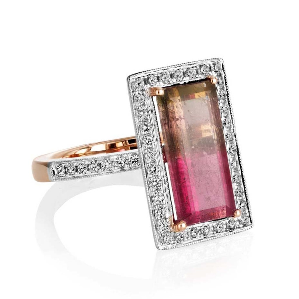 Sheldon Bloomfield watermelon tourmaline and diamond ring in white and rose gold