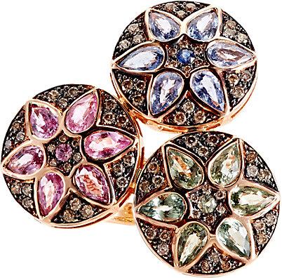 "ILEANA MAKRI Deco Triple Flower Ring. Embellished with pavé champagne diamonds, Ileana Makri's Deco Triple Flower ring is crafted of 18k pink gold set with pink, green and blue sapphire ""petals."""