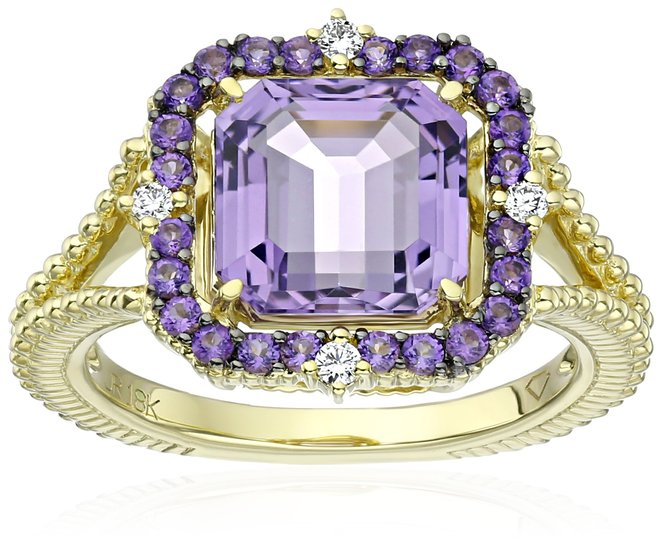"""Judith Ripka """"Lila"""" Lavender Amethyst Asscher Ring"""