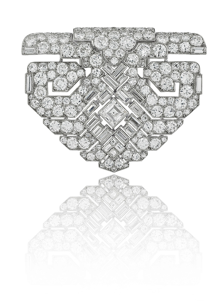 A Magnificent Platinum & Diamond Art Deco Clip by Cartier, London, circa 1930.
