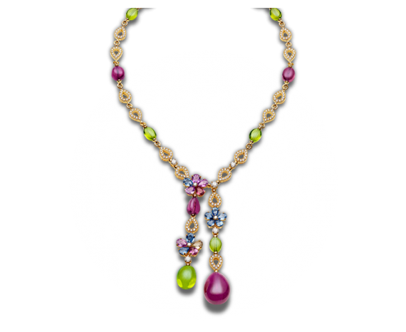 """Sapphire Flower 18 kt yellow gold necklace with fancy sapphires, peridots, rubellites, diamonds and pavé diamonds. 14.82-16.80"""" long."""