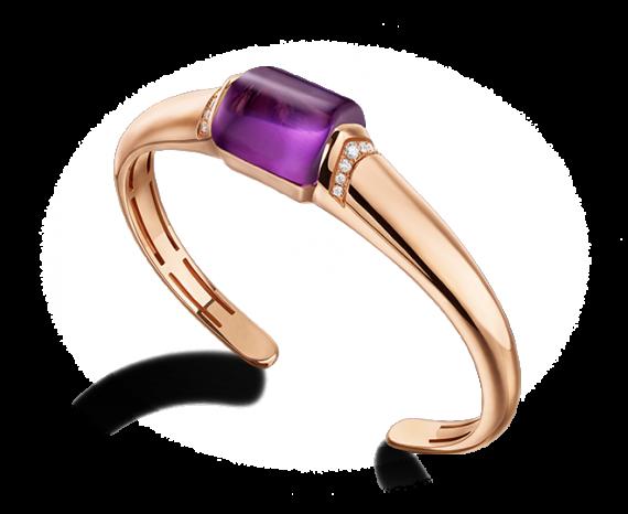 MVSA bracelets in 18 kt pink gold with amethyst and pavé diamonds