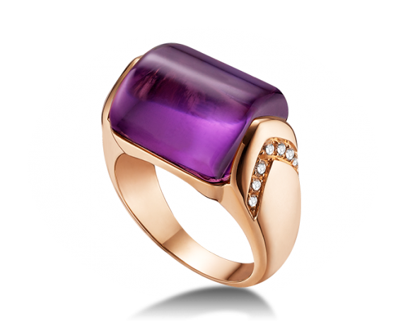 MVSA ring in 18 kt pink gold with amethyst and pavé diamonds.