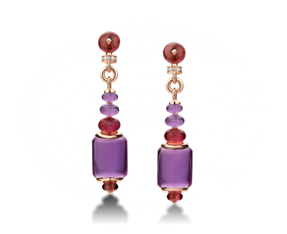 MVSA earrings in 18 kt pink gold with amethysts, rubellite beads and pavé diamonds.