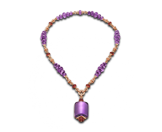 MVSA necklace in 18 kt pink gold with amethyst, rubellite beads and pavé diamonds