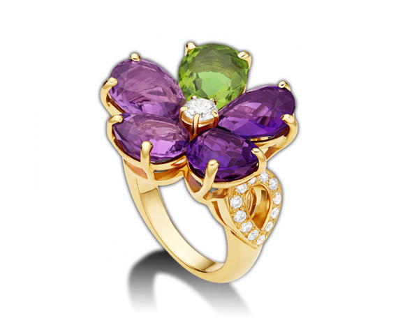 Sapphire Flower 18 kt yellow gold ring with amethysts, peridot and pavé diamonds.