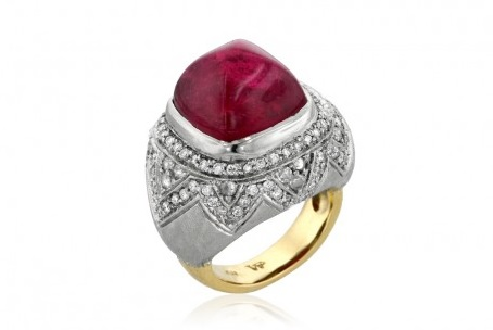 Ashley Morgan pink Tourmaline dome ring. Pink tourmaline dome ring with pave brilliant and rose cut diamonds surrounded with hand engraving in 18-karat white and yellow gold.