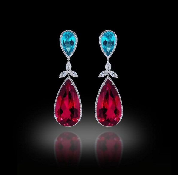 Paraiba Tourmaline and Rubellite Earrings