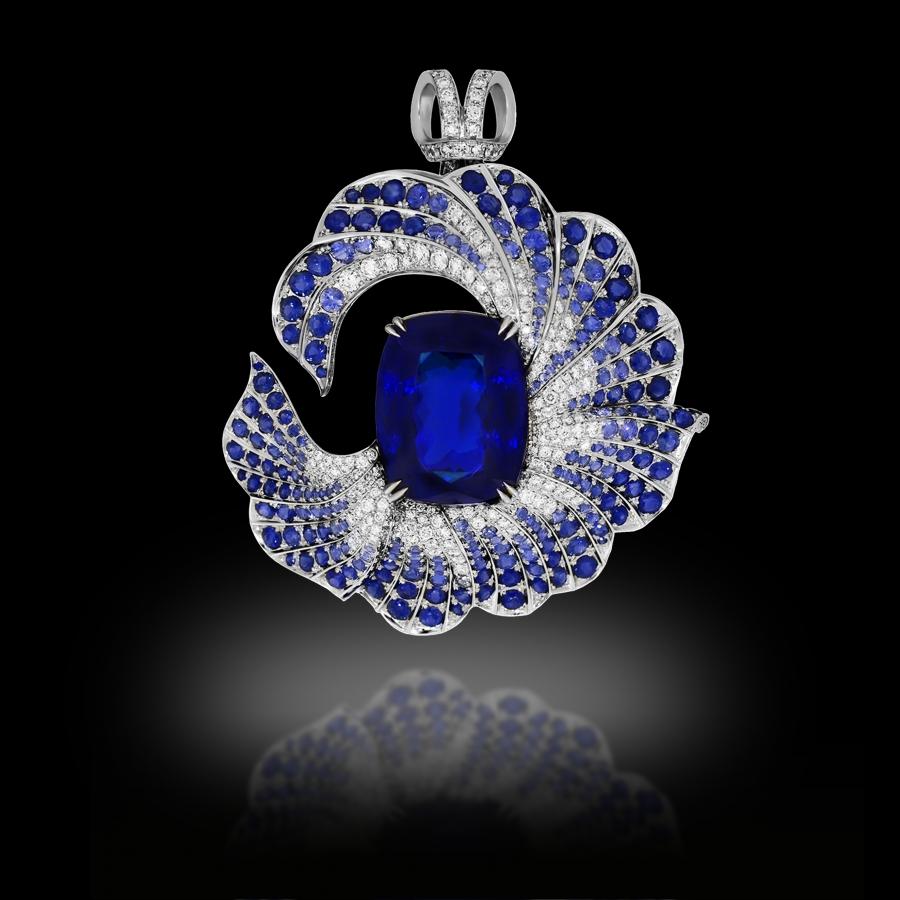 Drapé Brooch 18K White Gold Tanzanite 45+ Carats White Diamonds Blue Sapphires