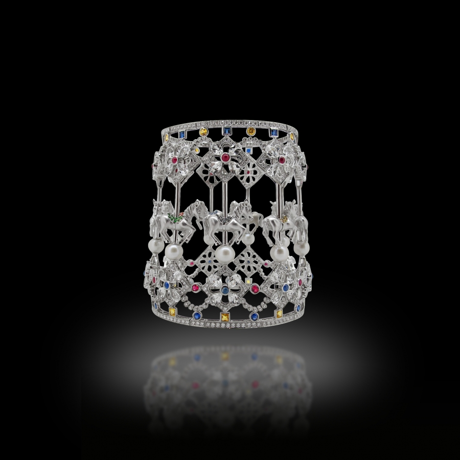 Horse Bangle 18K White Gold White Diamonds,Pearls,Rubies and Sapphires