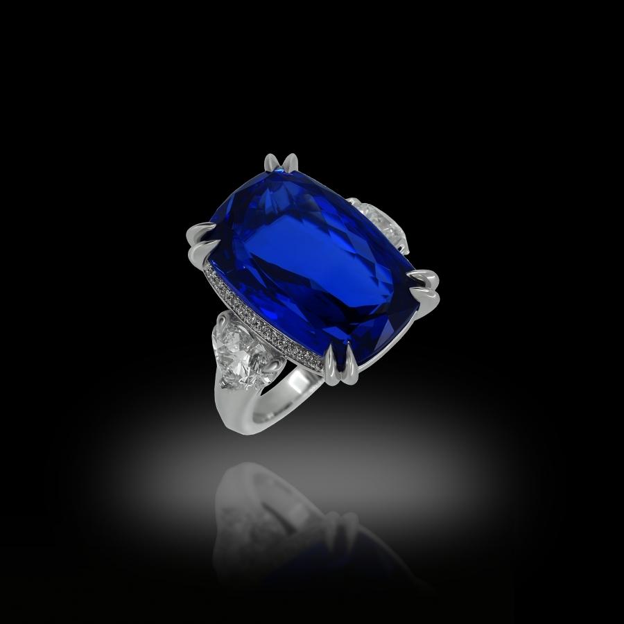 """The """"New York"""" Tanzanite and White Diamonds Ring 18K White Gold"""