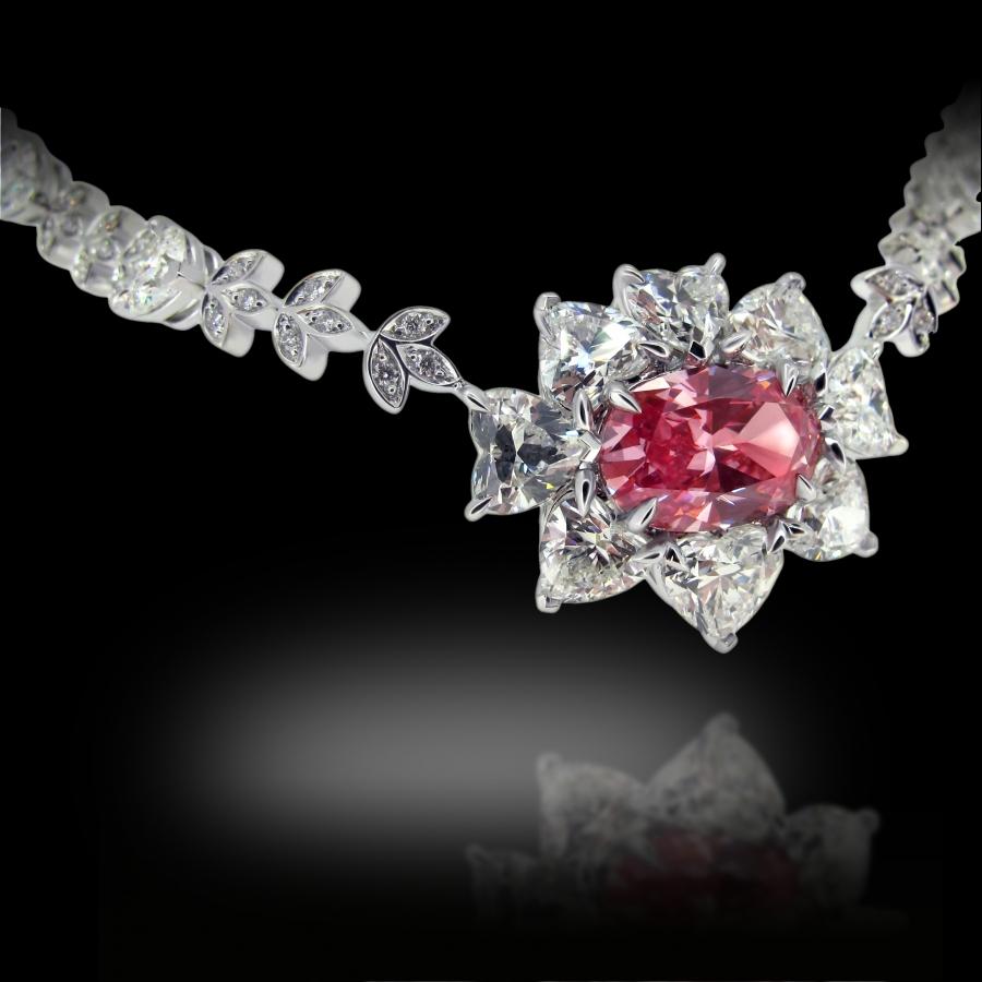 Pink Sun Necklace 18K White Gold Fancy Vivid Pink Diamond 2+ Carats and White Diamonds