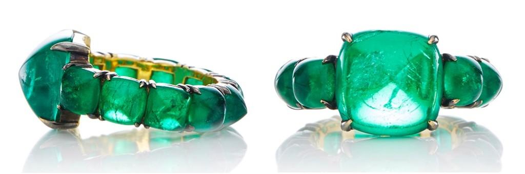 13.71 ct sugar loaf cabochon emerald ring