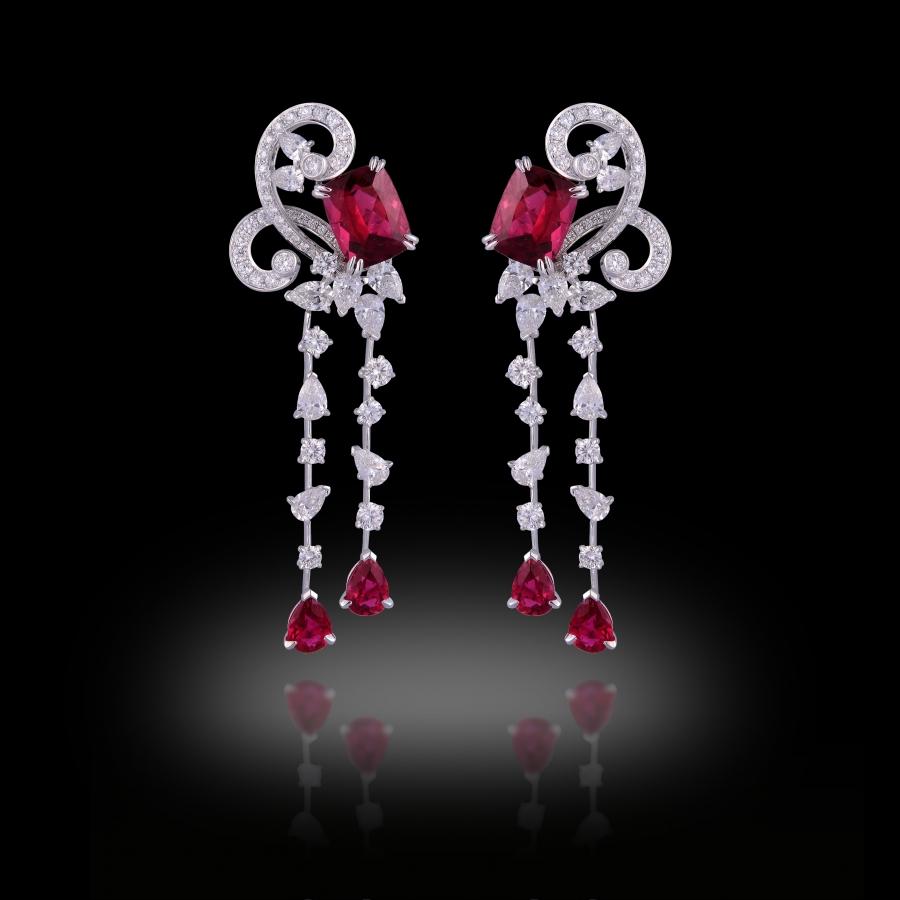 Volute Earrings 18K White Gold Rubellites and White diamonds