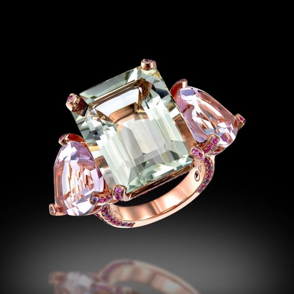 Green Amethyst and Pink Sapphire Ring