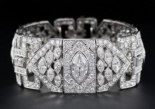 Platinum Diamond Art Deco Bracelet