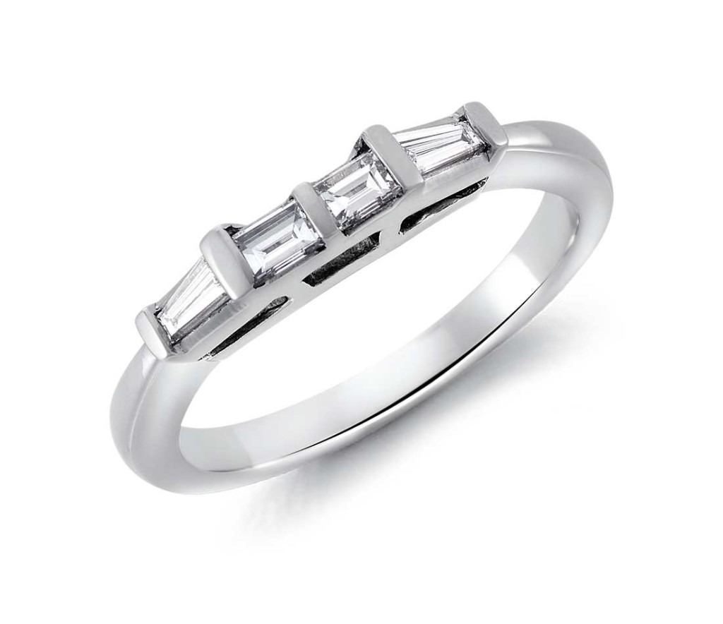 Tapered Baguette Diamond Ring in Platinum (1/3 ct. tw.) Tapered and straight baguette diamonds are bar channel-set in a stylish, enduring platinum band.