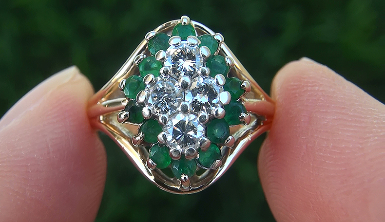 Estate 1.01 ct Natural Colombian Emerald Diamond 14k Gold Vintage Cocktail Ring