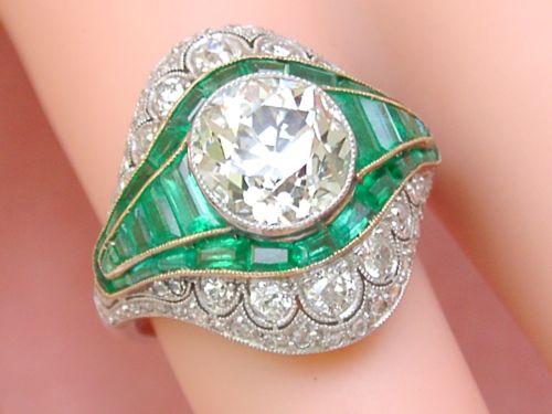 Estate Art Deco 3 Ct Old MIne Diamond 1.7 ctw Emerald Platinum Cocktail Ring