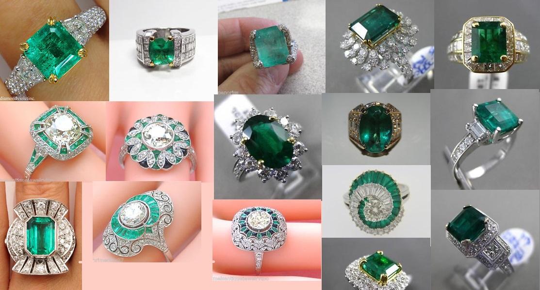 Estate Emerald and Diamond Rings