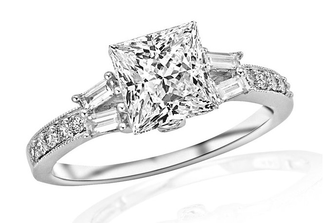 2.43 Carat GIA Certified Princess Cut Split Shank Baguette and Round With Milgrain Diamond Engagement Ring (I-J Color, IF Clarity)