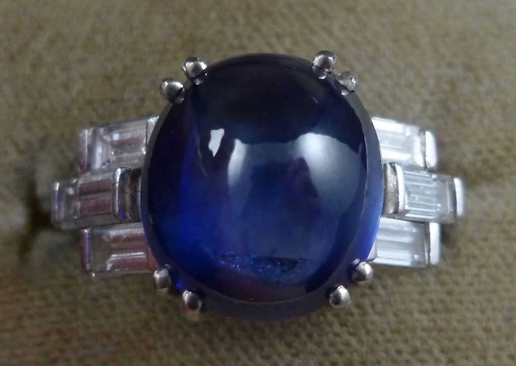 fabulous cabochon Sapphire & Diamond ing is genuine 1920's Art Deco. The ring is 18ct white gold and steeped in Deco history.
