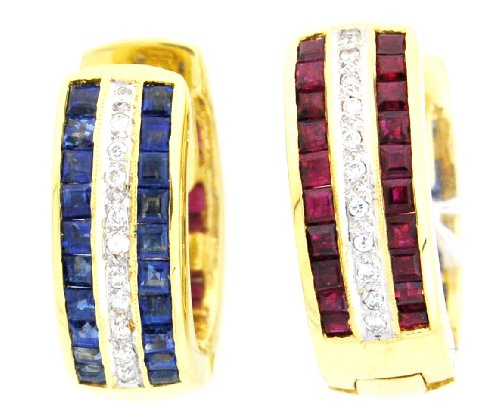 18K Yellow Gold Eternity Diamond Multi Gemstone Earrings
