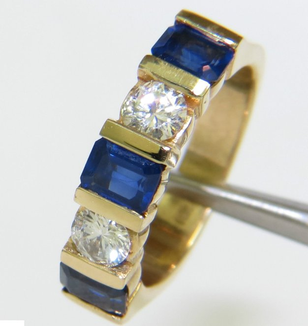 NATURAL 2.40CT SAPPHIRE DIAMOND BAND 14KT A+ CLASSIC CHANNEL DECO