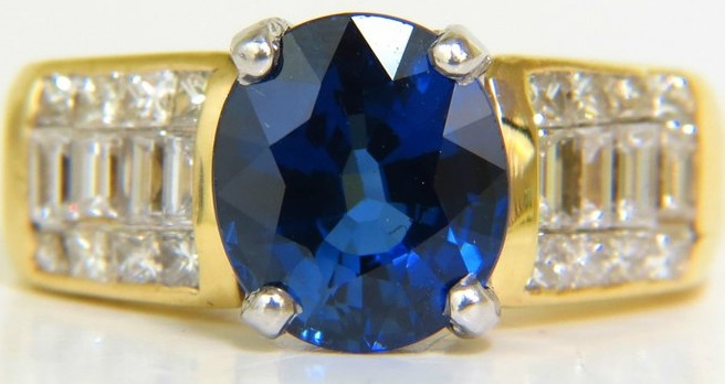 GIA 4.93CT NATURAL TOP GEM SAPPHIRE DIAMOND RING CLASSIC SET
