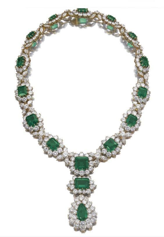 Emerald and diamond necklace by Bulgari