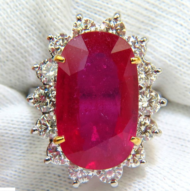 17.90CT HUGE ENHANCED RUBY DIAMOND RING 14KT DIANA DECO A++