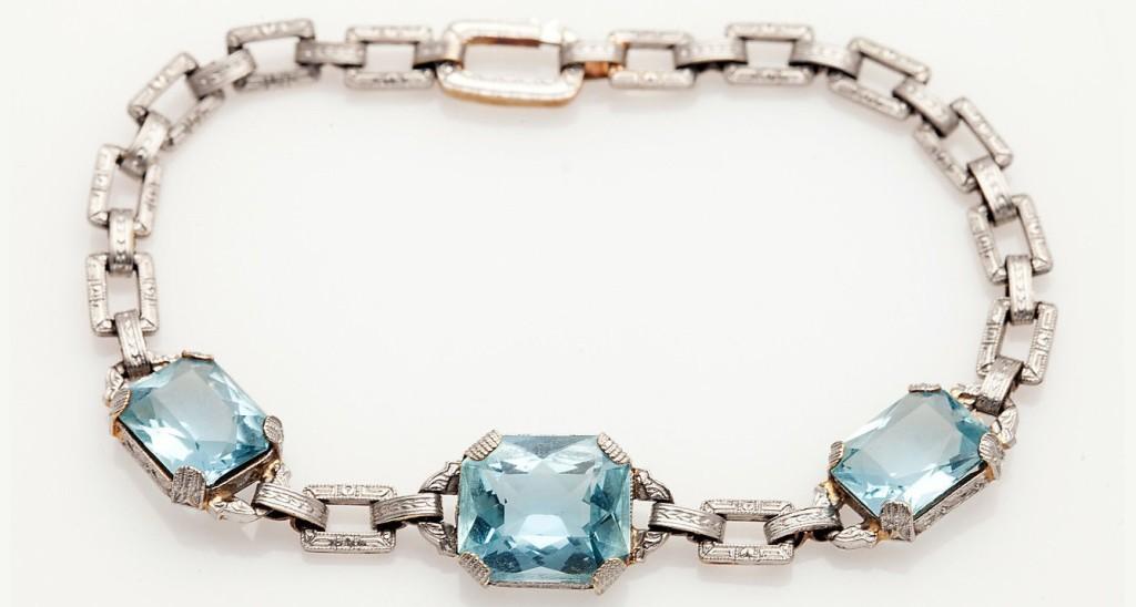 Antique 1930s 15ct Natural Aquamarine 14k Gold Platinum Bracelet