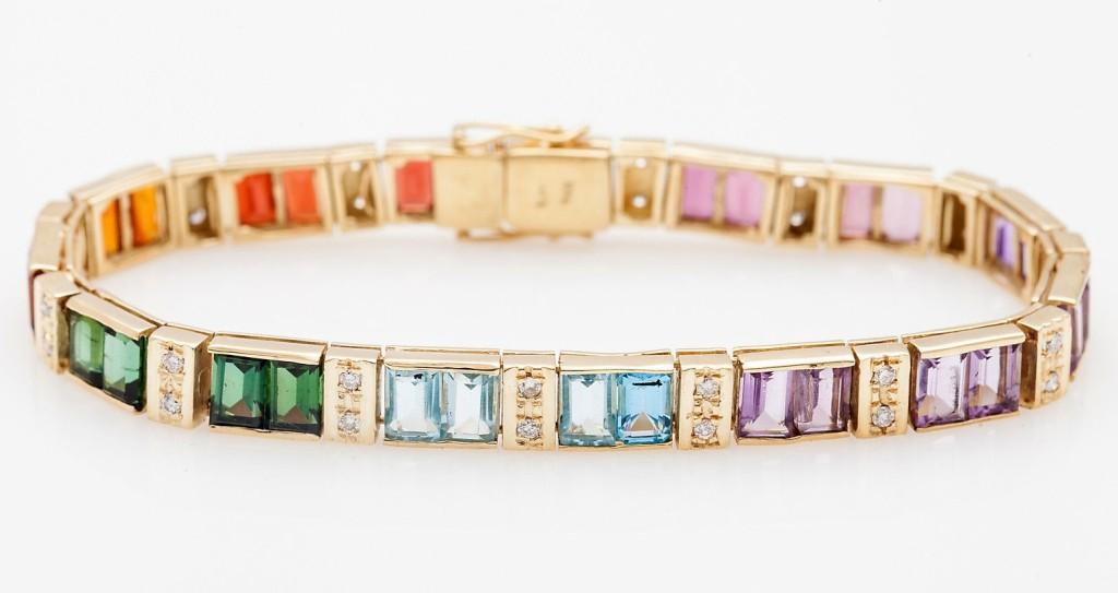 Estate 25ct Pink Green Tourmaline Aquamarine Diamond 14k Gold Bracelet
