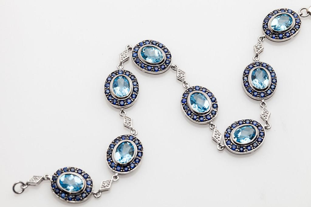 Estate 15ct Natural Blue Topaz Sapphire Diamond 14k White Gold Bracelet