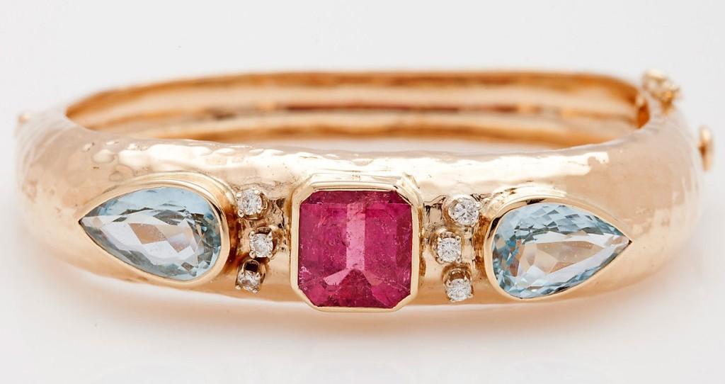 Vintage 30ct Pink Tourmaline Aquamarine Diamond 14k Gold Bangle Bracelet