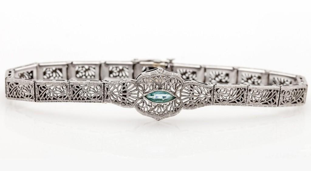 "Antique 1920s Aquamarine 10k White Gold Filigree Bracelet 6.25"""