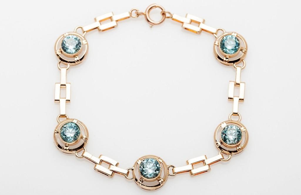 Antique 1930s DECO 6ct Natural Blue Zircon 10k Yellow Rose Gold Bracelet