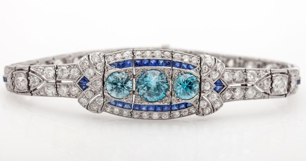 Antique 15ct Old Euro Blue Zircon Sapphire Diamond Platinum Bracelet