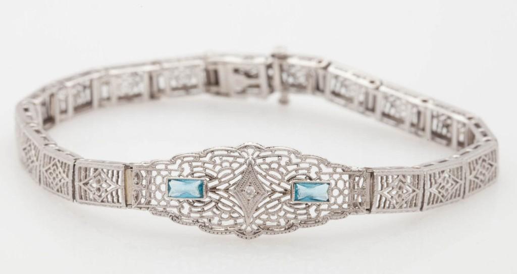 Antique 1920s Aquamarine Diamond 10k White Gold Filigree Bracelet