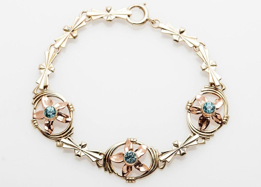 Antique ORANGE BLOSSOM 2ct Natural Blue Zircon 14k Rose Yellow Gold Bracelet