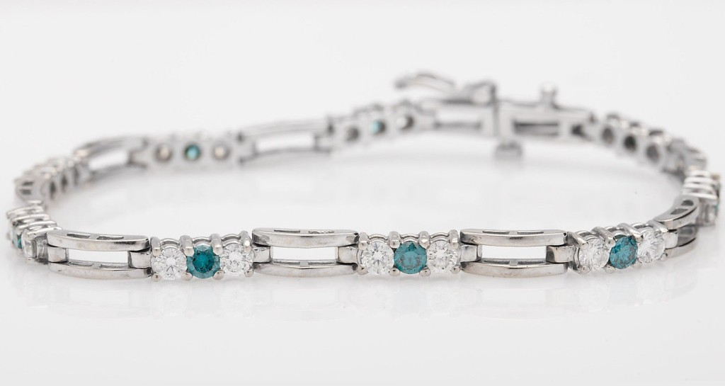 6ct Genuine Blue White Diamond 14k Gold Tennis Bracelet