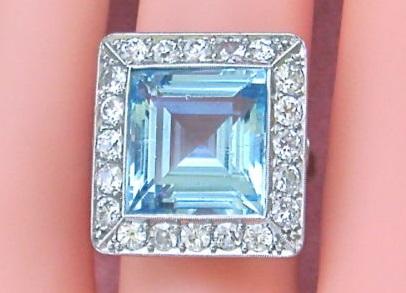 ANTIQUE 1.20 ctw EUROPEAN CUT DIAMOND 7ct SQUARE AQUAMARINE PLATINUM RING 1930