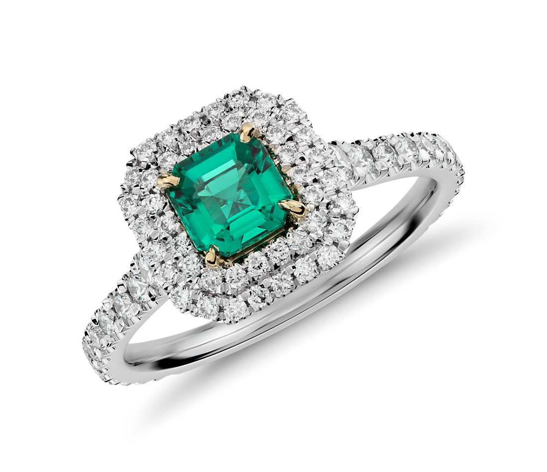 Emerald and Micropavé Diamond Double Halo Ring in 18k White and Yellow Gold (0.69 ct.) $10,000