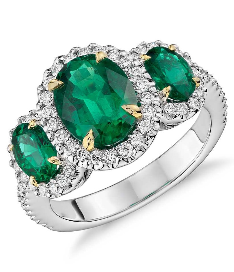 Three Stone Emerald and Diamond Halo Ring in 18k White and Yellow Gold (2.95 ct. tw.) $13,830