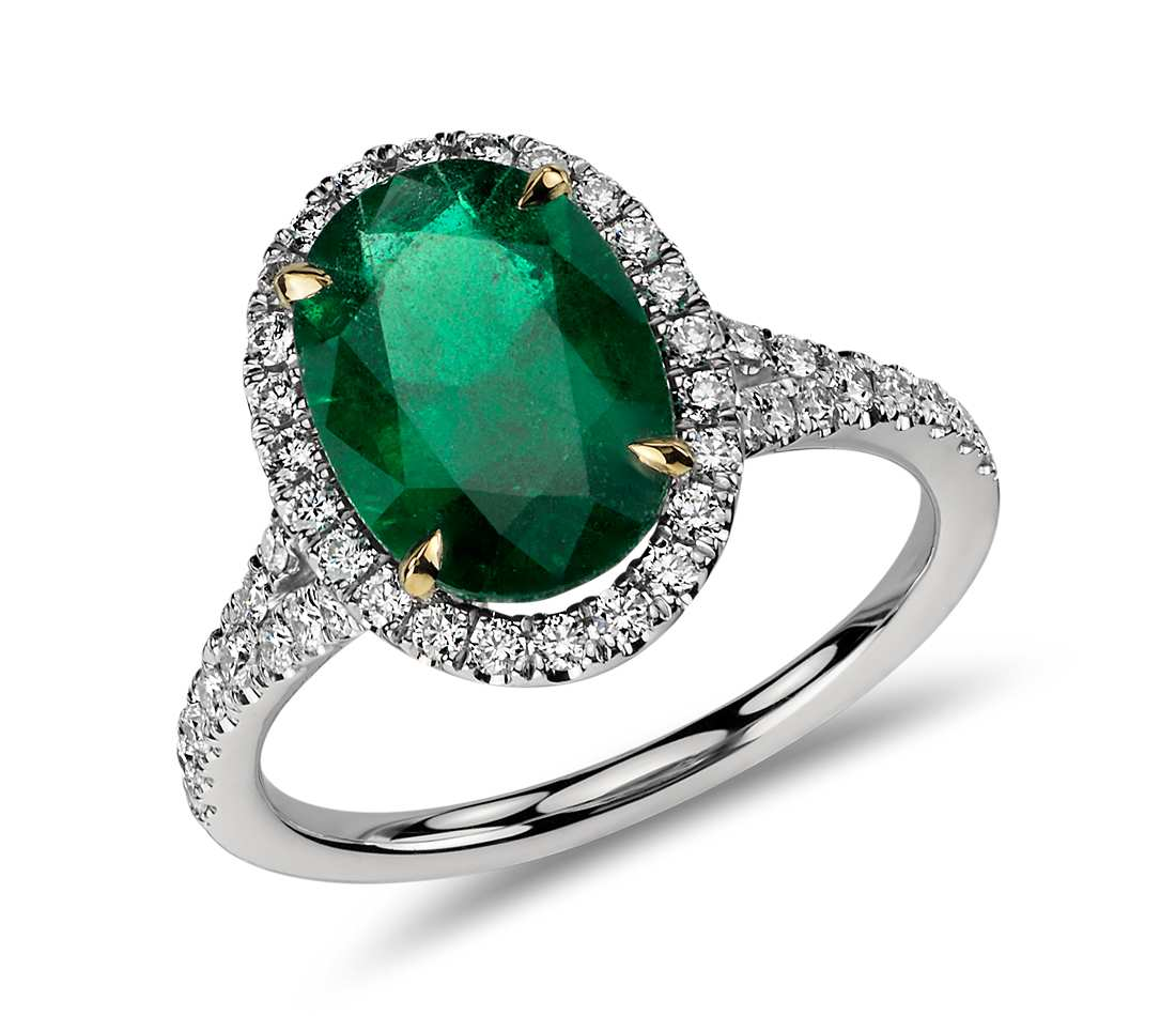 Oval Emerald and Diamond Ring in Platinum (3.01 cts) $18,000
