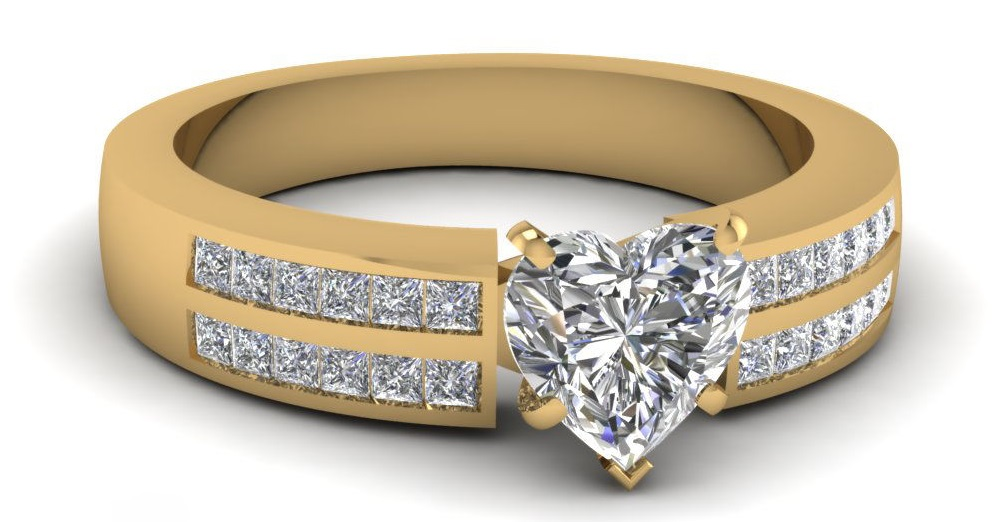 2 Row Channel Set Engagement Ring For Women With Heart Shaped Diamond 1 Carat