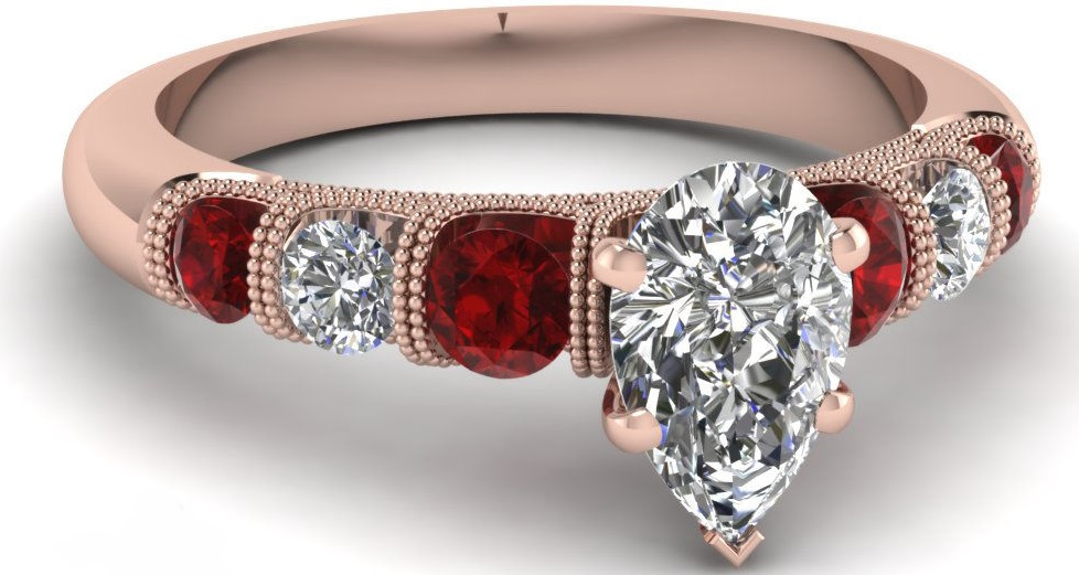 1 Carat Pear Conflict Free Diamond And Ruby Unique Milgrain Engagement Ring GIA